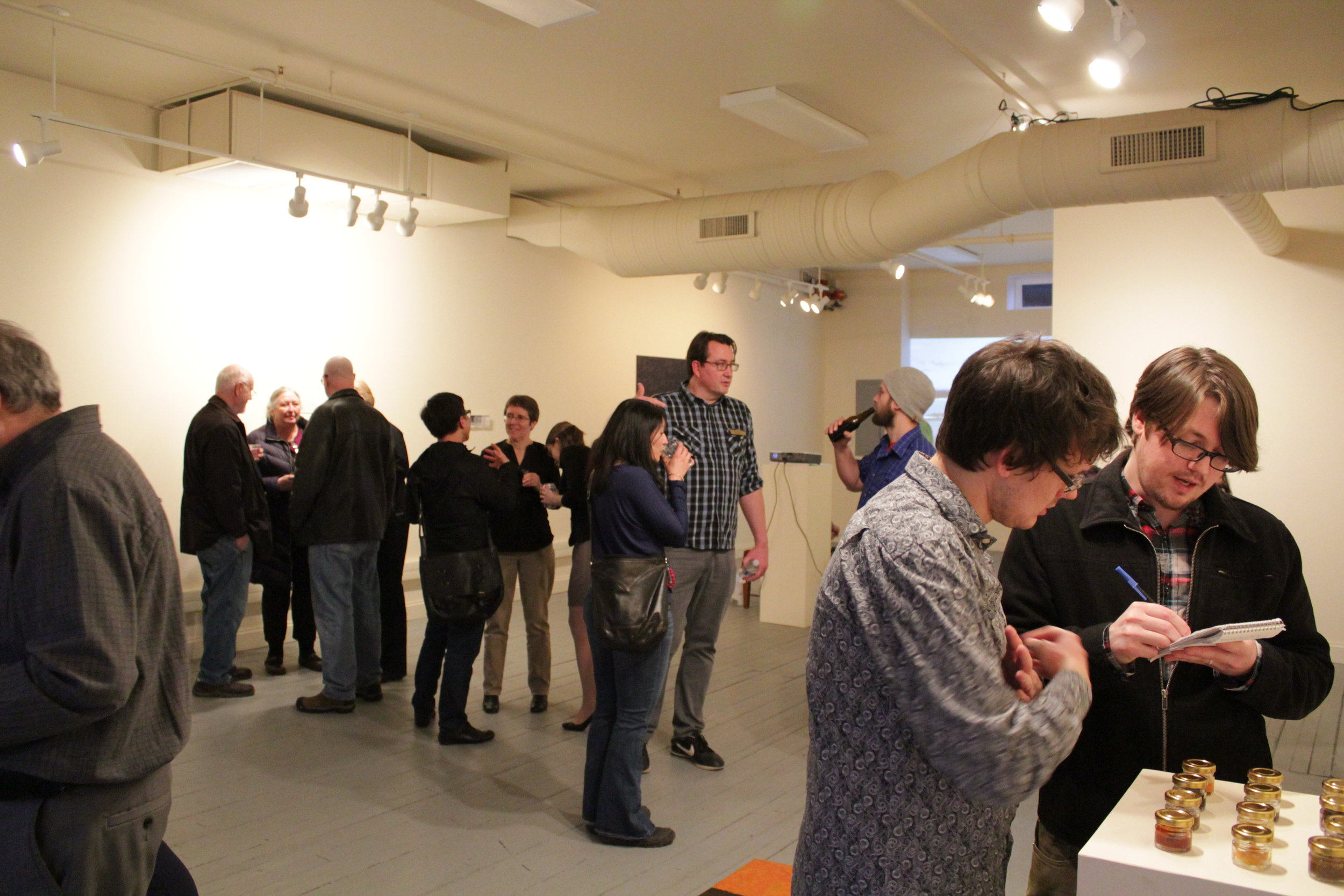 Opening night of 'COLONIZE' at 3rd on 3rd Gallery, Jamestown, New York (2014). Photo: David Cotton