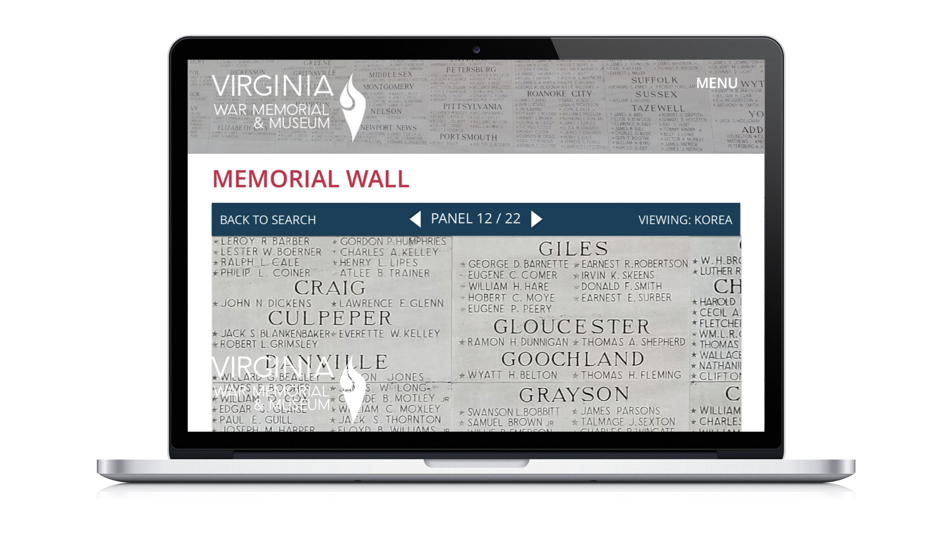 A notional screen displaying the wall of names on the VAWMM's website