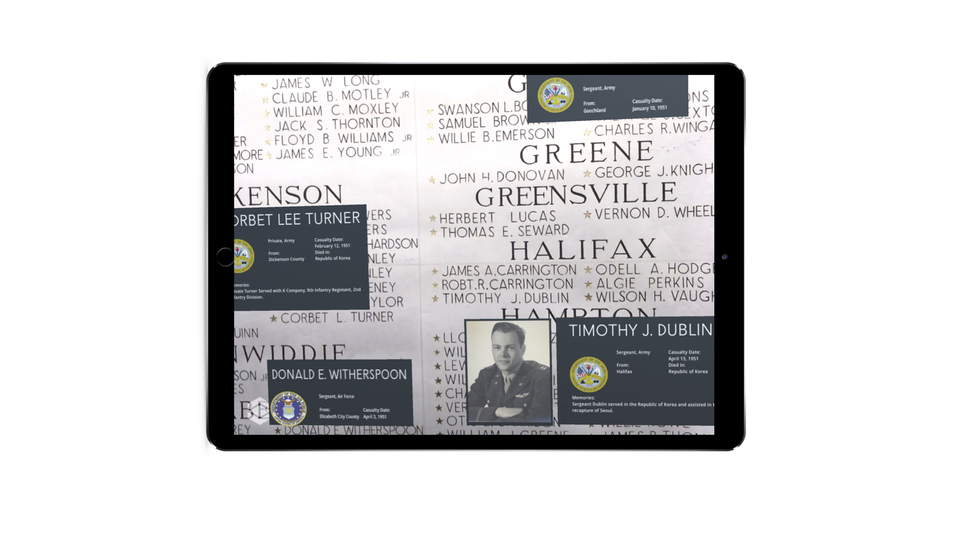 Using augmented reality to help tell the story of some of Virginia's fallen soldiers