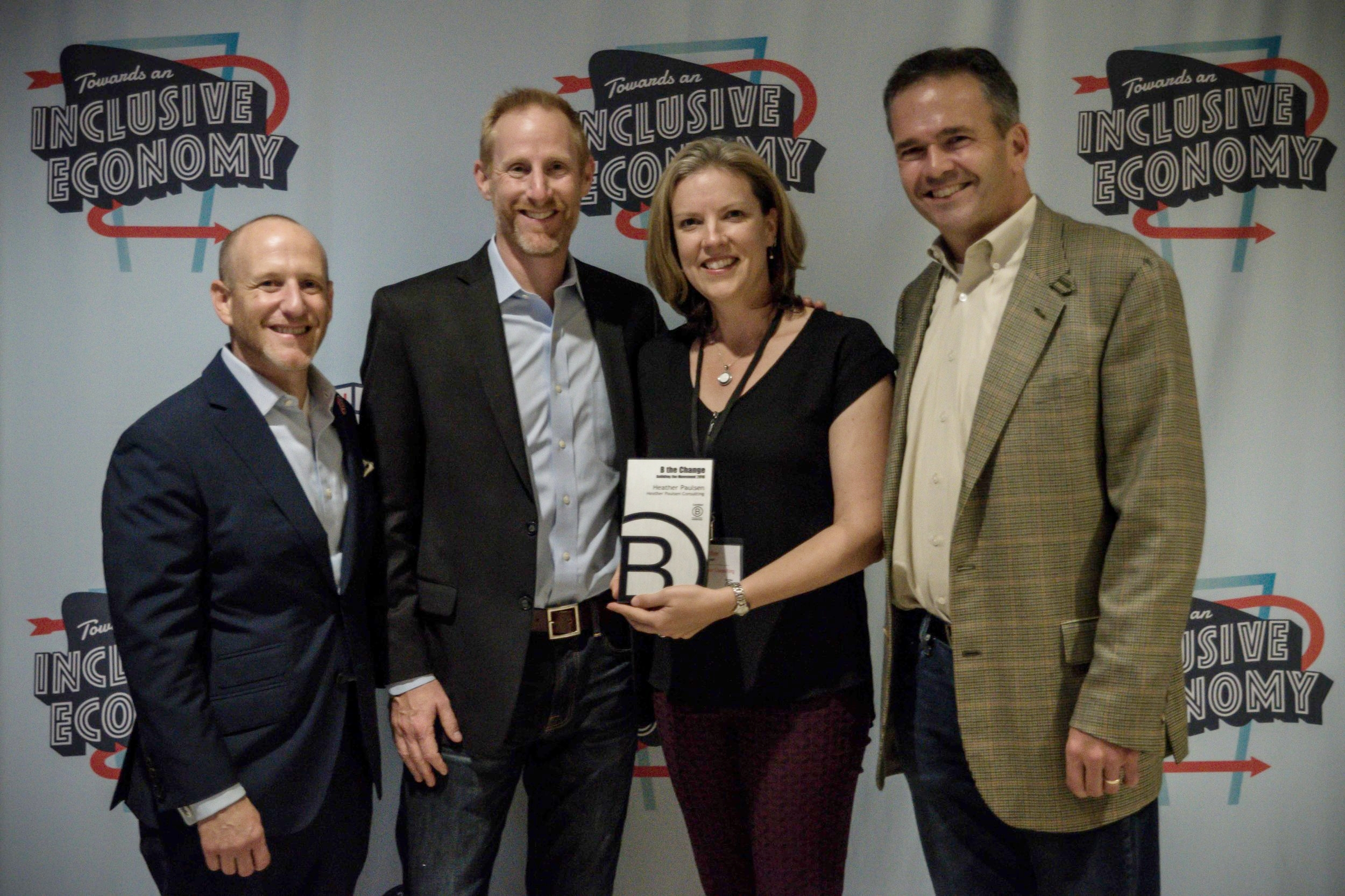 Heather Paulsen with B Lab co-founders Andrew Kassoy, Joy Coen Gilbert and Bart Houlahan, B Corp Champions Retreat, 2016, Philadelphia.