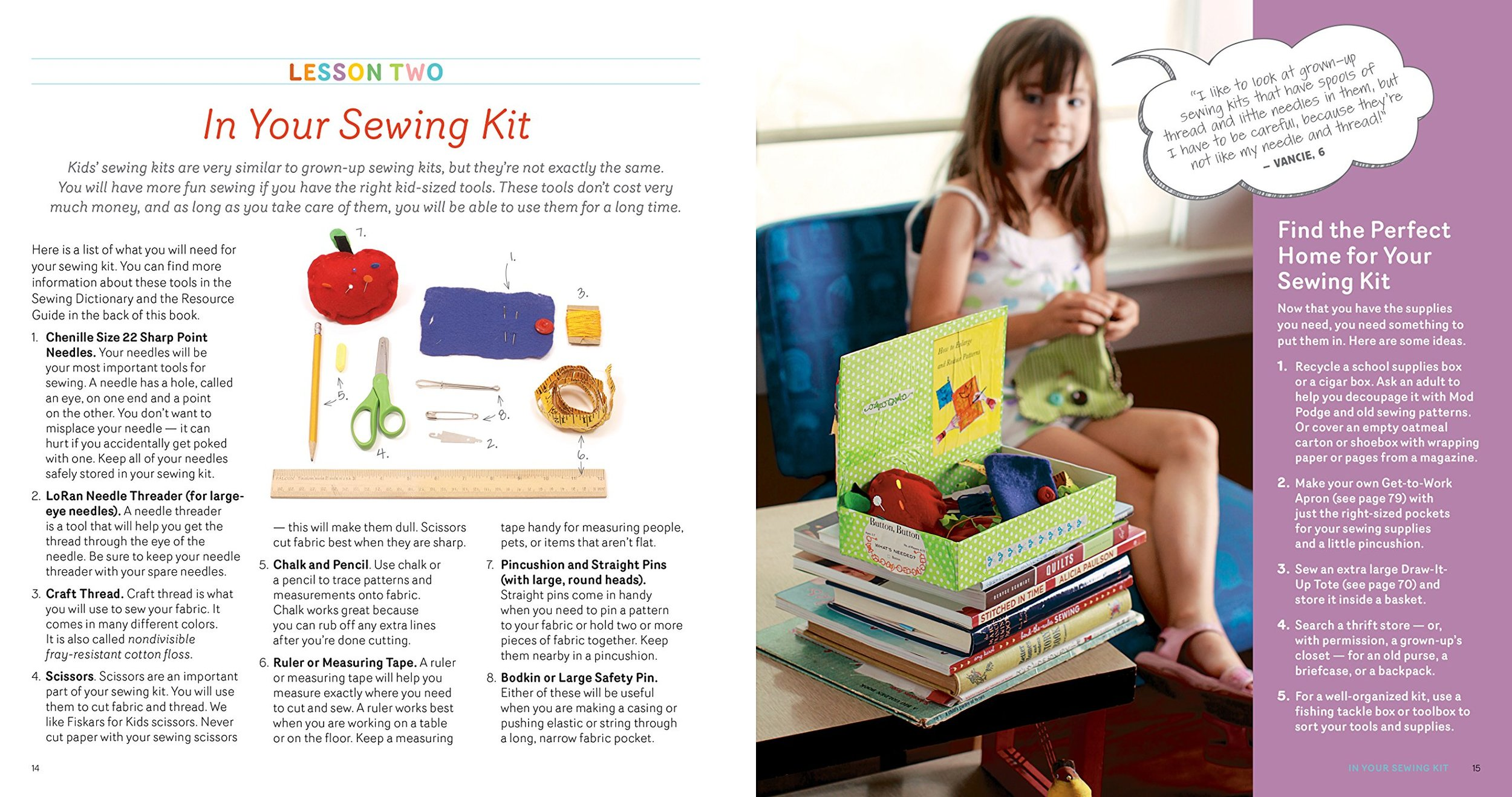 """Written by a kindergarten teacher and a journalist who have taught many children to sew, this large-format book offers appealing projects illustrated with color photos of step-by-step directions as well as kids engaged in sewing and showing off work. Best of all, this practical, attractive sewing book features finished projects that look like they were actually made by children."" Booklist"