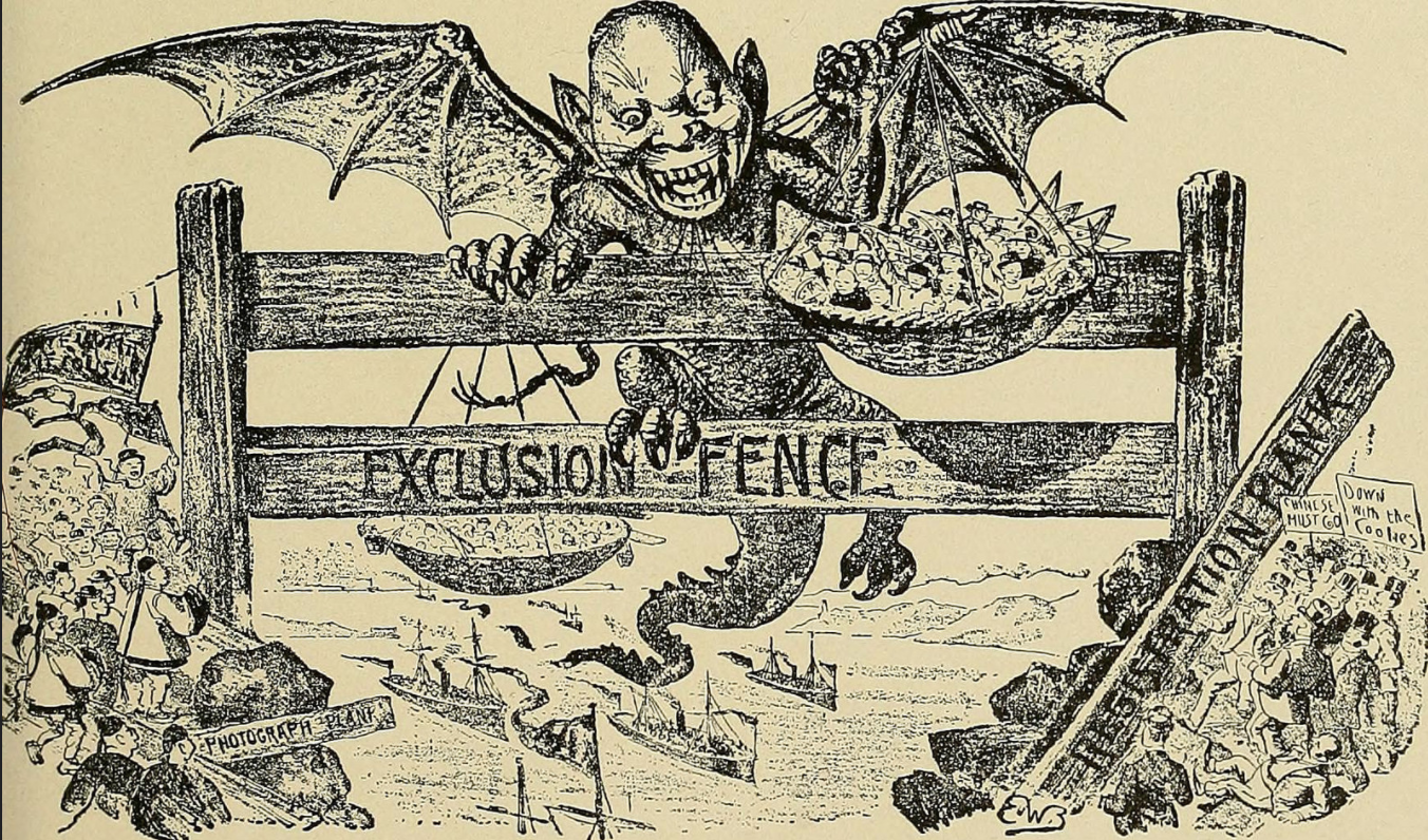 """This xenophobic illustration was published in the """"The San Francisco Illustrated Wasp"""" in an effort to dehumanize Chinese immigrants. Image can be found in """"The History of the Nineteenth Century in Caricature"""" via    Internet Archive Book Images   ."""