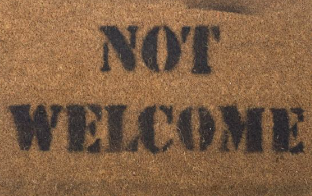 """Not Welcome"" stencil created by an Eritrean refugee. Source:  BBC"