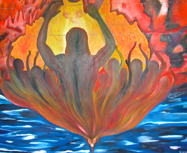 "Kamaleshwaran Selladurai, ""The Fire,"" oil on canvas.  The Refugee Art Project"