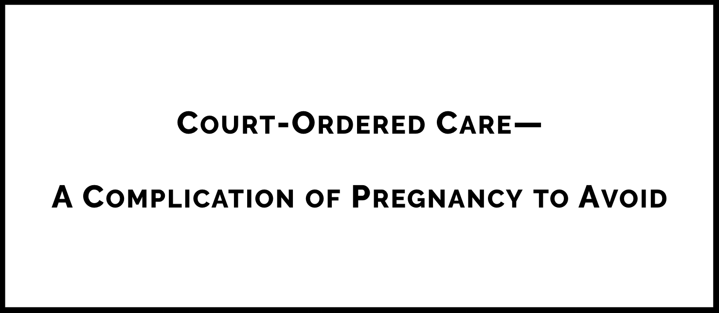 Corresponding with an article she published in the  New England Journal of Medicine , Dr. Cantor considers whether doctors' orders should ever become court orders and discusses whether there should be any exceptions to informed consent and informed refusal that apply during pregnancy. Includes compelling video footage of a patient who was forced to undergo a C-section in a Florida hospital, explicitly without her consent.