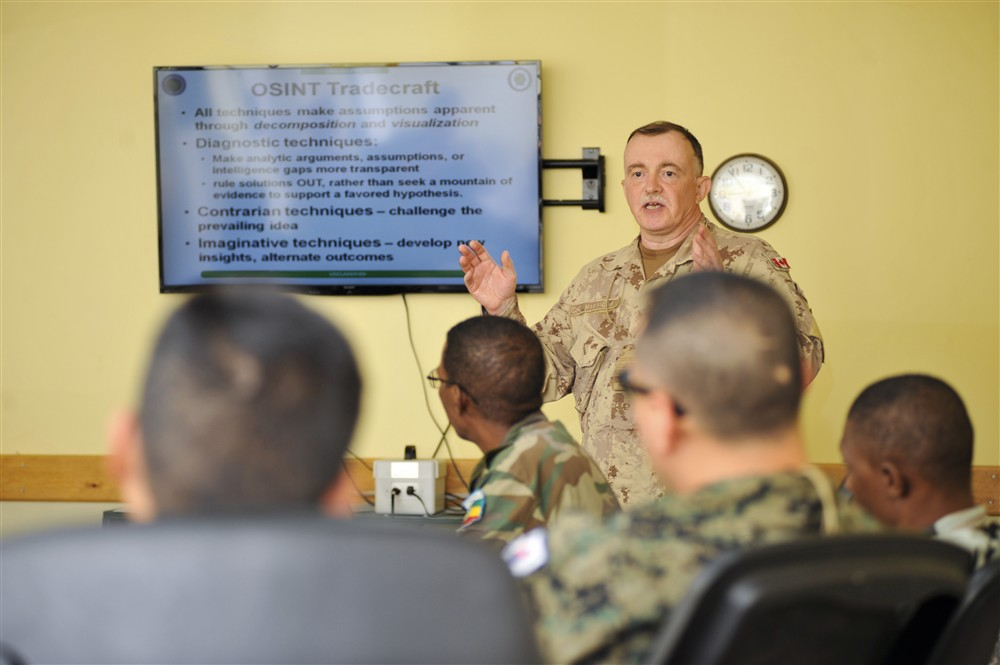 Ian MacVicar teaching open source intelligence in Africa, 2014.