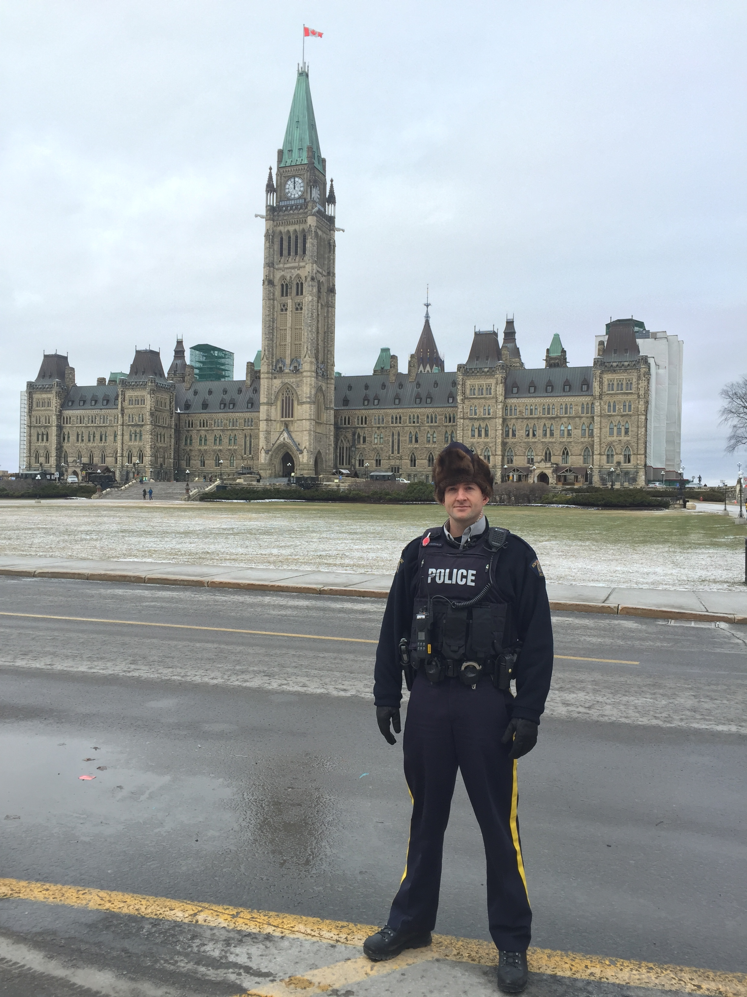 Caleb MacDonald working with Parliamentary Protective Services in Ottawa, 2016.