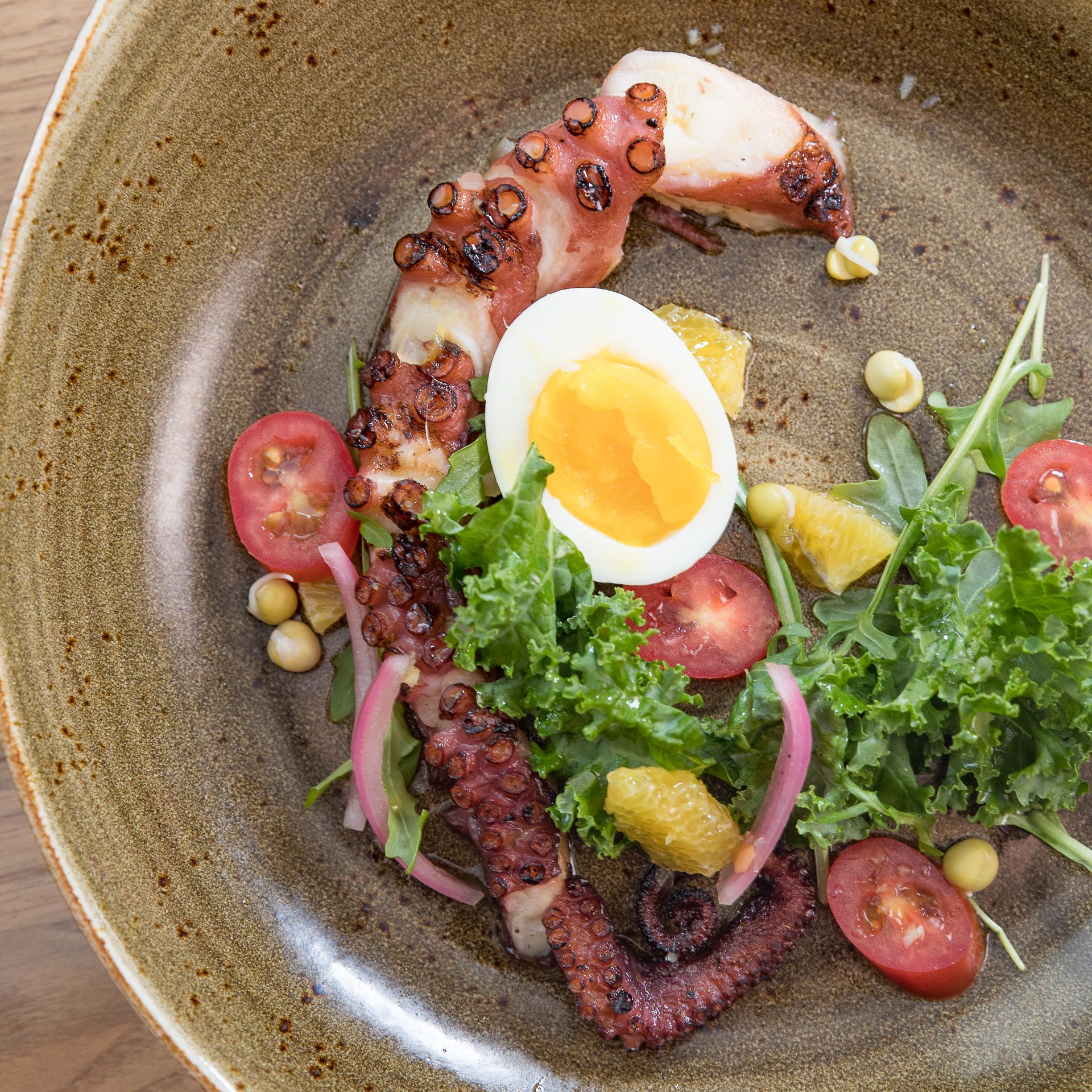 Roy's Hawaii_Grilled He'e (Tako), Kale, Arugula, Pickled Pea, Adzuki, and Lentil sprouts, Orange and Tomato Dressing, 3 Minute Egg__pc Craig Bixel_20170125-02.jpg
