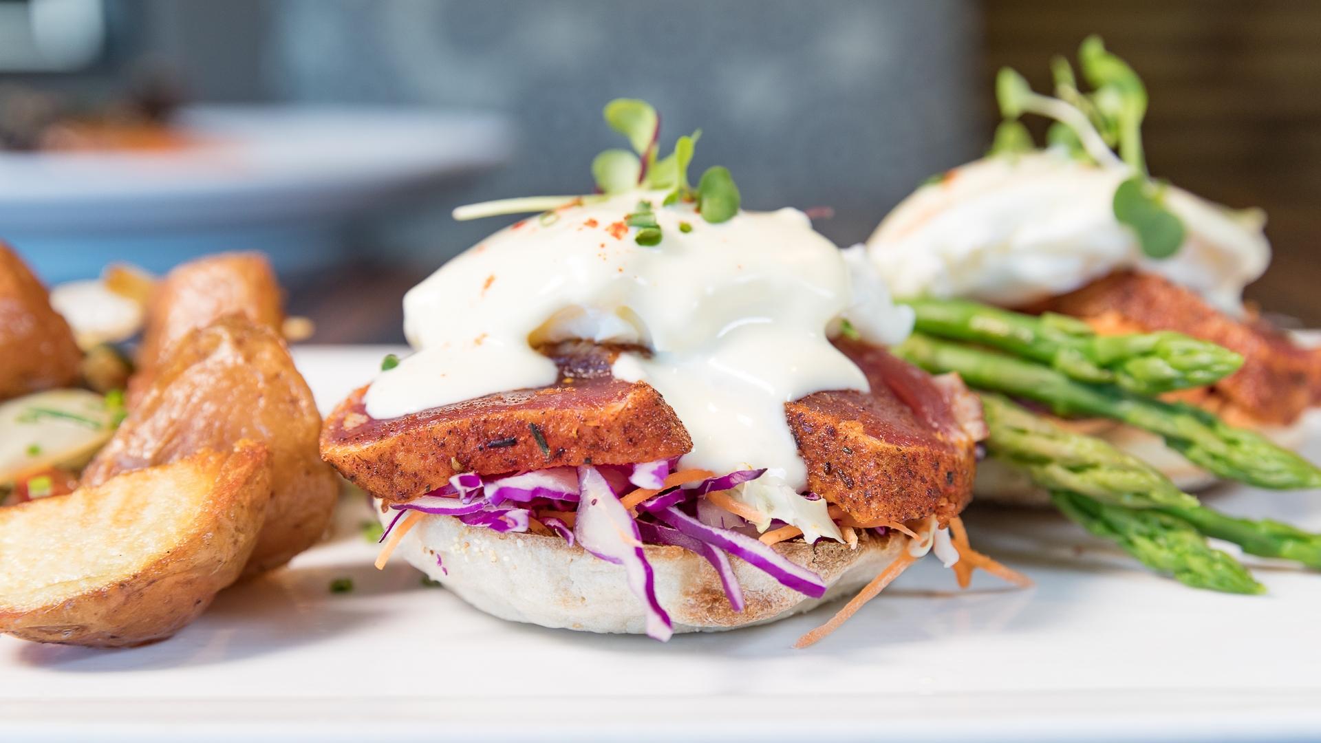 Roy's Kaanapali: Ahi Benedict | Roy's Blackened Ahi, Ponzu Veg, Grilled Asparagus, Red Bliss Fried Potatoes, Yuzu-Hollandaise