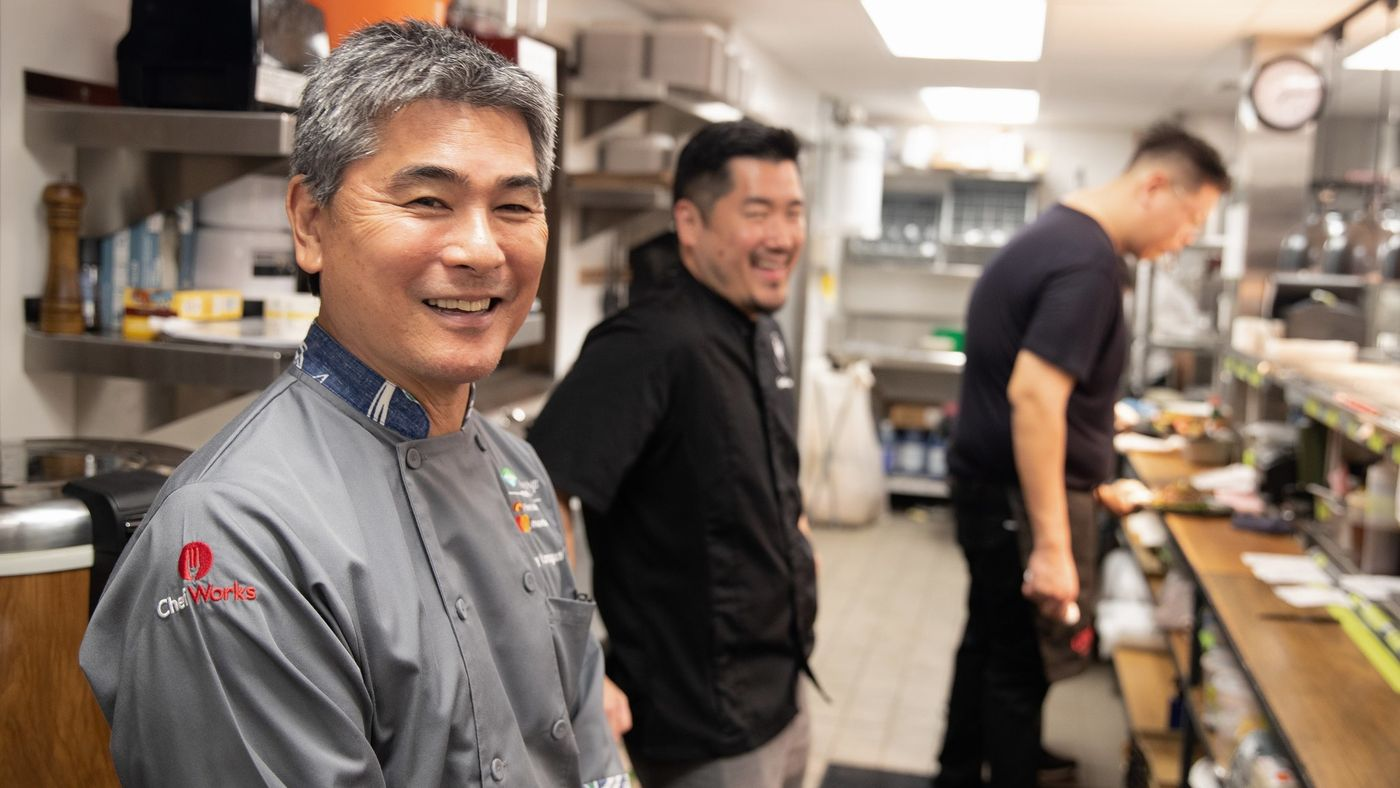Chef Roy Yamaguchi in the kitchen of his newest restaurant in the Oahu community of Kailua. Goen Dining + Bar welcomed its first guests Nov. 21. (Craig Bixel)