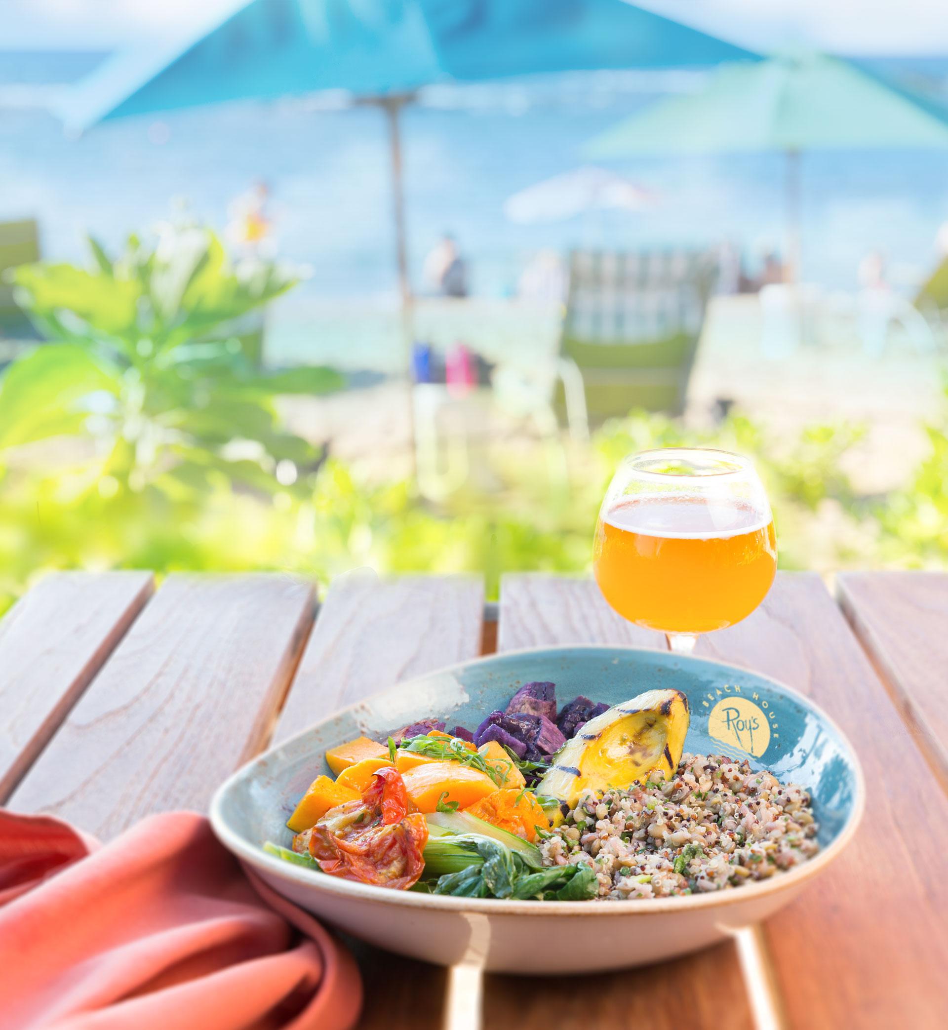 "Roy's-Beach-House_RBH-Protein-""Energy-Buddha-Bowl""-_-Roasted-Sweet-Potatoes,-Hau'ula-Tomatoes,-Butternut-Squash,-Mixed-Rice,-Grains-&-Lentils,-Grilled-Avocado__pc-Craig-Bixel_07-2017.jpg"