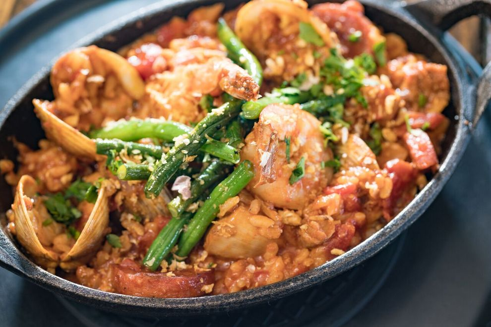 Plantation-Style Paella inspired by a family recipe —  Photo courtesy of Eating House 1849