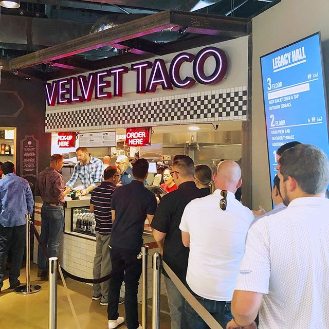 🌮Velvet Taco is NOW OPEN at Legacy Hall!🌮 . . . 🌽We hand selected all your favorite VT tacos (and elote) to create a limited menu that is going to rock your world! . . . 🥑Open for Lunch, Dinner & Late Night—we'll see you this weekend?