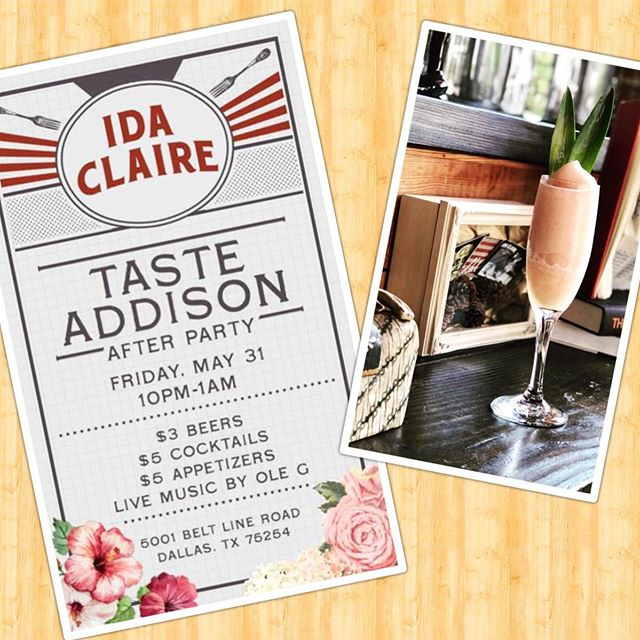 Ain't no party like the after party! And you're invited! After taste of Addison come over to Ida Claire for some live music, $3 beers, $5 cocktails, and $5 appetizers!!Let's keep the party going! 10pm-1am! 🎉🍻 • • • • • • • #idaclaire #southernhospitality #southofordinary #tasteofaddison #afterparty #friyay