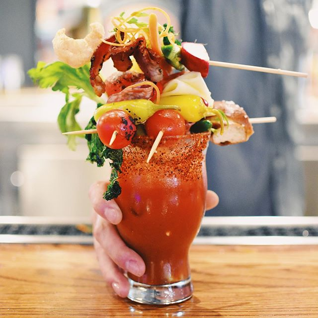 Dad deserves a full serving of veggies this Father's Day...but maybe an epic #bloodymarybar will do. 😋 . . . . . . . . Our #fathersday Bloody Mary Bar will be one he remembers (maybe)🤪, along with an outdoor putting green ⛳️🏌🏼‍♂️ and the U.S. Open Golf 🏆 on with sound in the Box Garden—all for Dad!