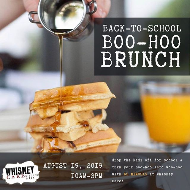 "We know how ""tough"" it is sending the kids back to school this week, so let us help you change your perspective with Brunch next Monday without the little ones, a true cause for celebration!  Drop the kids off early and then join us for $5 Mimosas!  Back-To-School Woo-Hoo Brunch Monday, Aug 19 • 10AM-3PM • • • #backtoschool #boohoobrunch #brunchokc #okcbrunch #whiskeycake #mimosas"