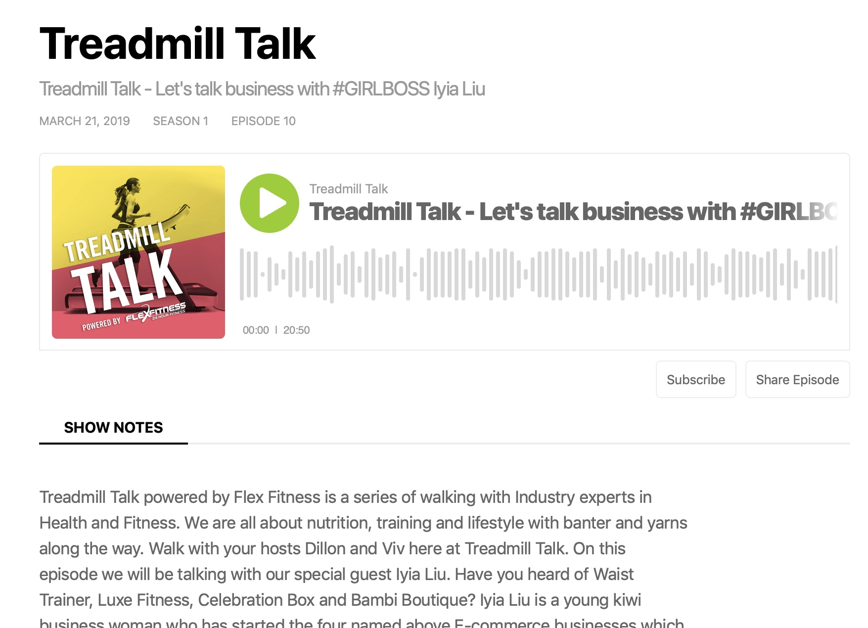 Flex Fitness: Treadmill Talk Podcast