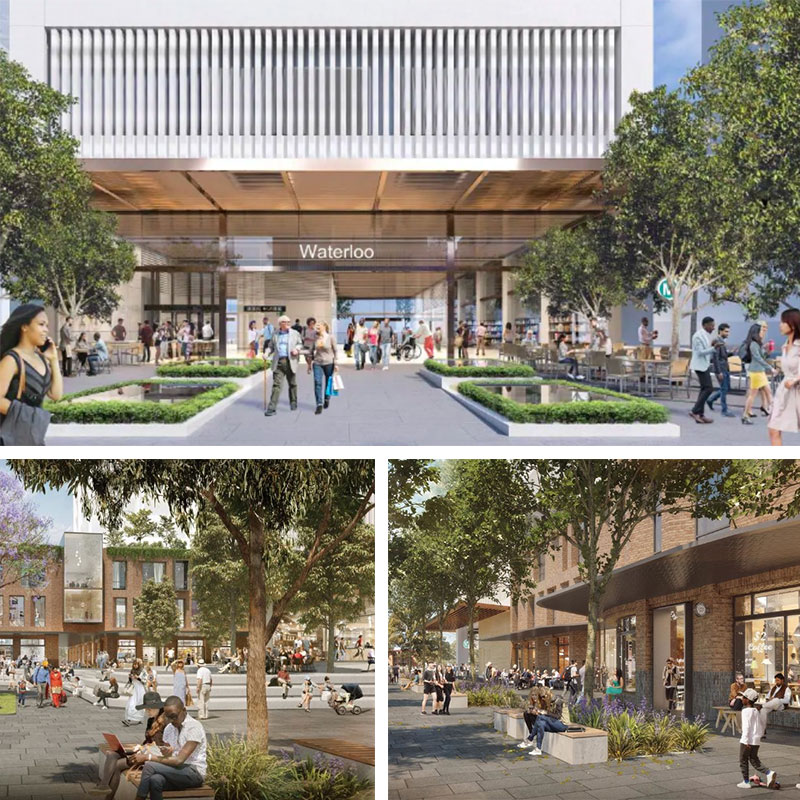 Artist renderings of the proposed Waterloo station, Cope Street plaza and Raglan Street plaza in the Waterloo metro precinct.