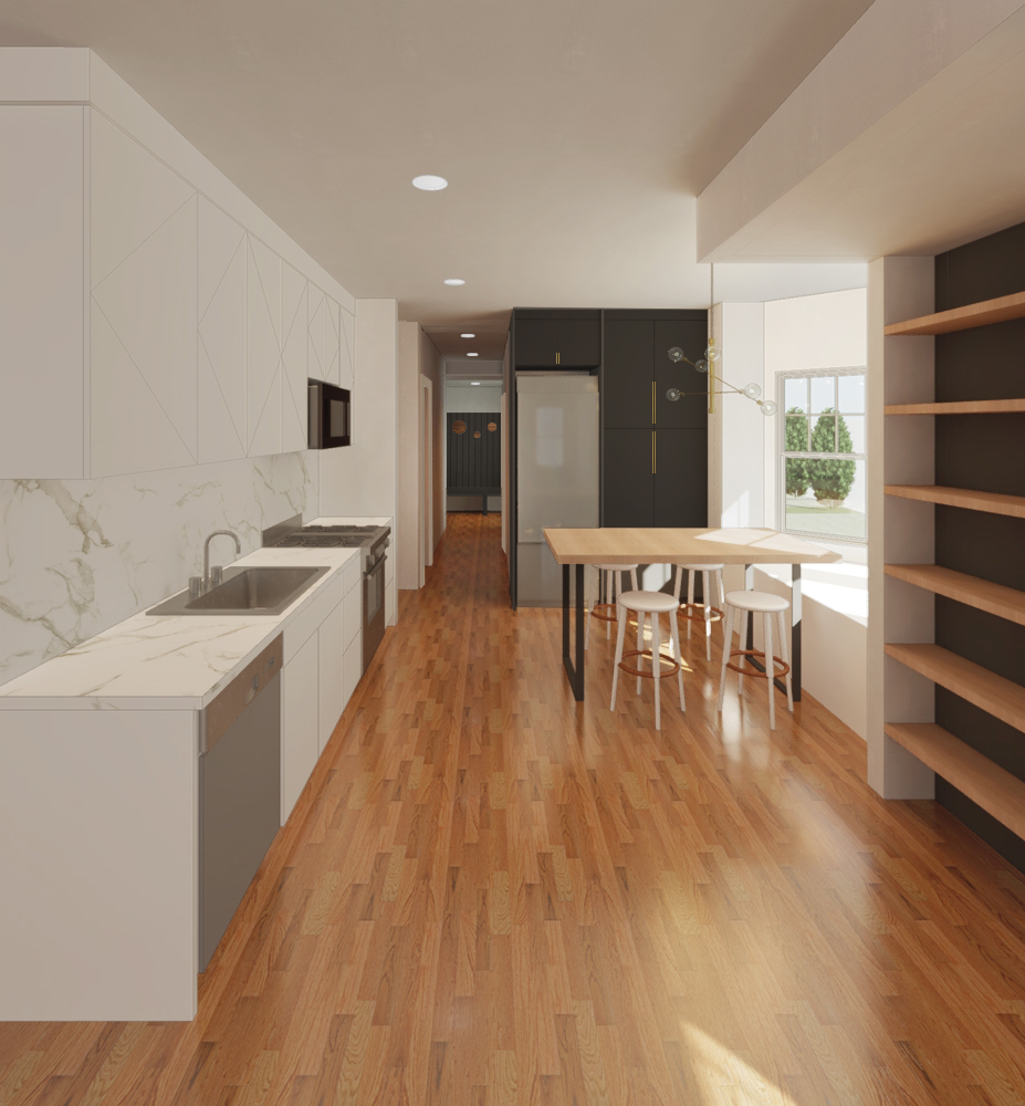 Conceptual rendering of kitchen and dining space.