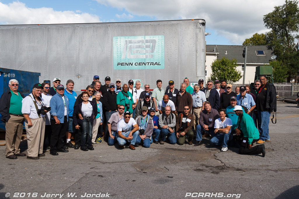 Convention attendees with a former PC trailer located across the street from the Lehigh Valley depot in Williamsville