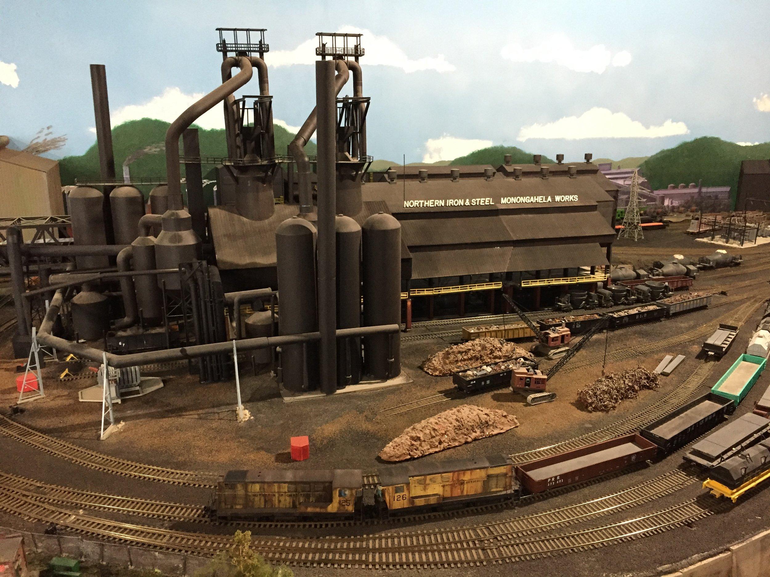 A steel mill scene on HO scale layout of the Model Railroad Club of Buffalo.