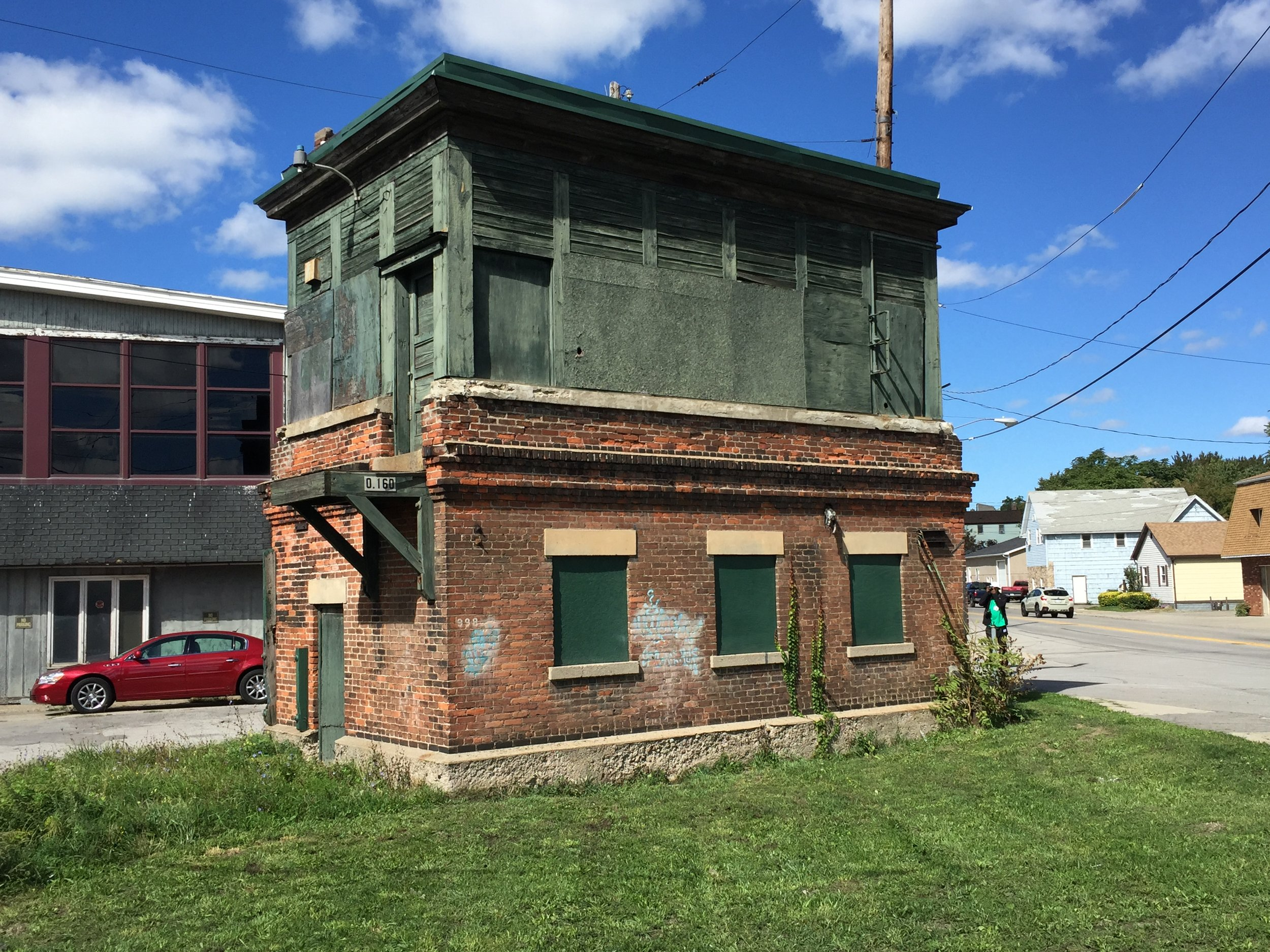 Former interlocking tower down the street from the Railroad Museum of the Niagara Frontier