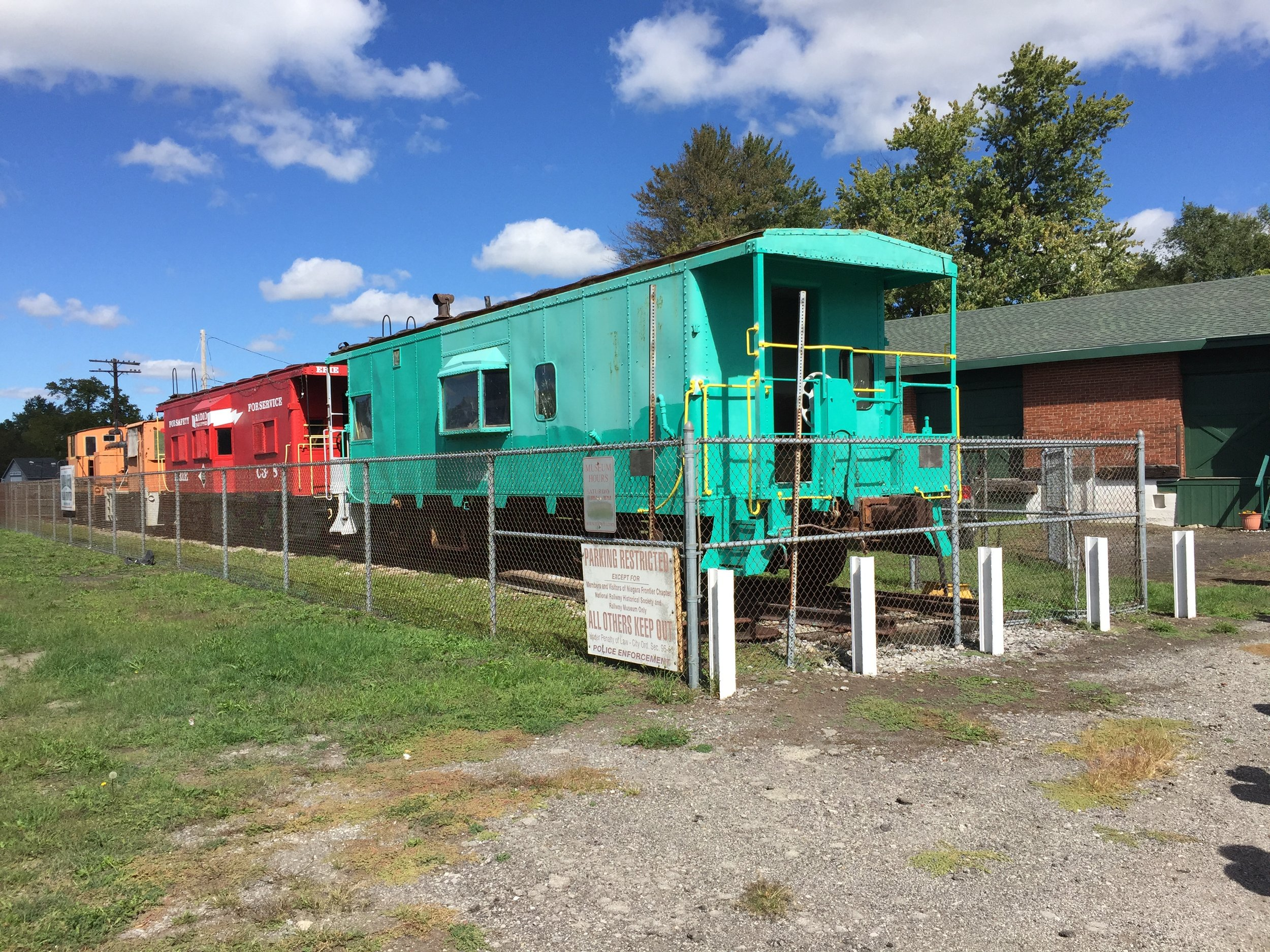 Cabooses on display at the Railroad Museum of the Niagara Frontier