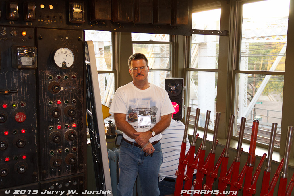 PCRRHS President Gary Farmer at the SoNo Switch Tower Museum.