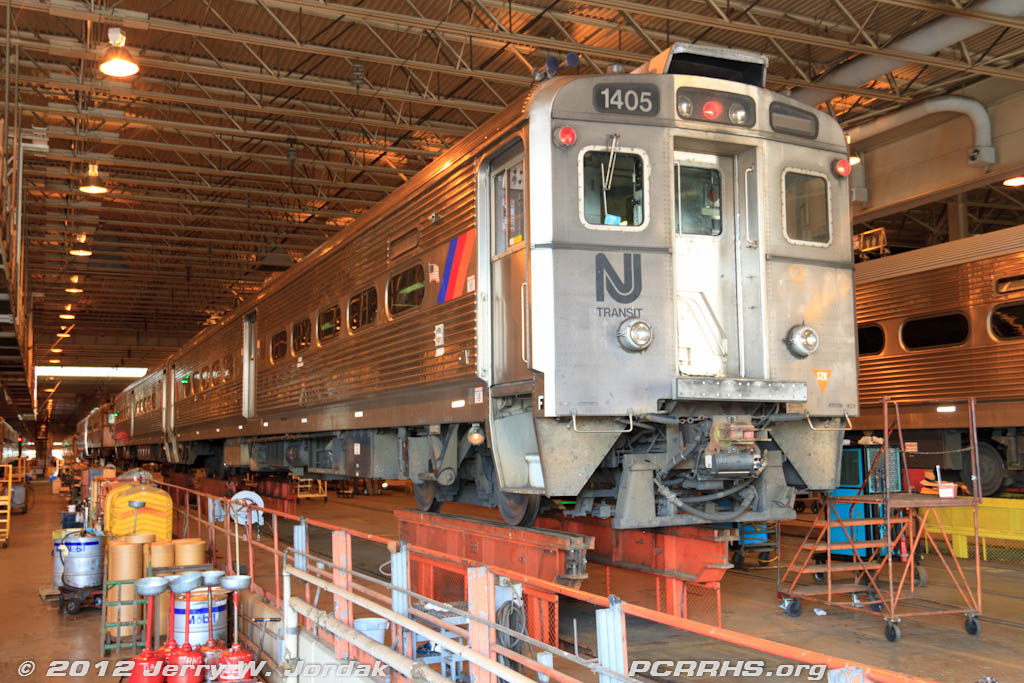 Jersey Arrow MU cars undergoing maintenance at the NJ Transit Meadowlands Maintenance Complex