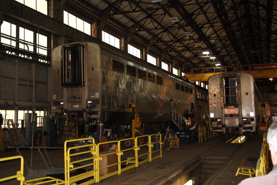 Superliner cars being rebuilt in one of the coach buildings