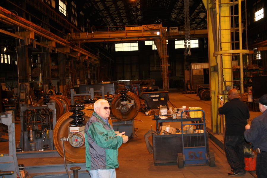 Superintendent John Grey describes the process for refurbishing Superliner I trucks