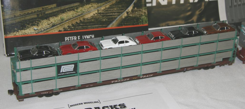 Autorack model with detailed cars by Blair Davies