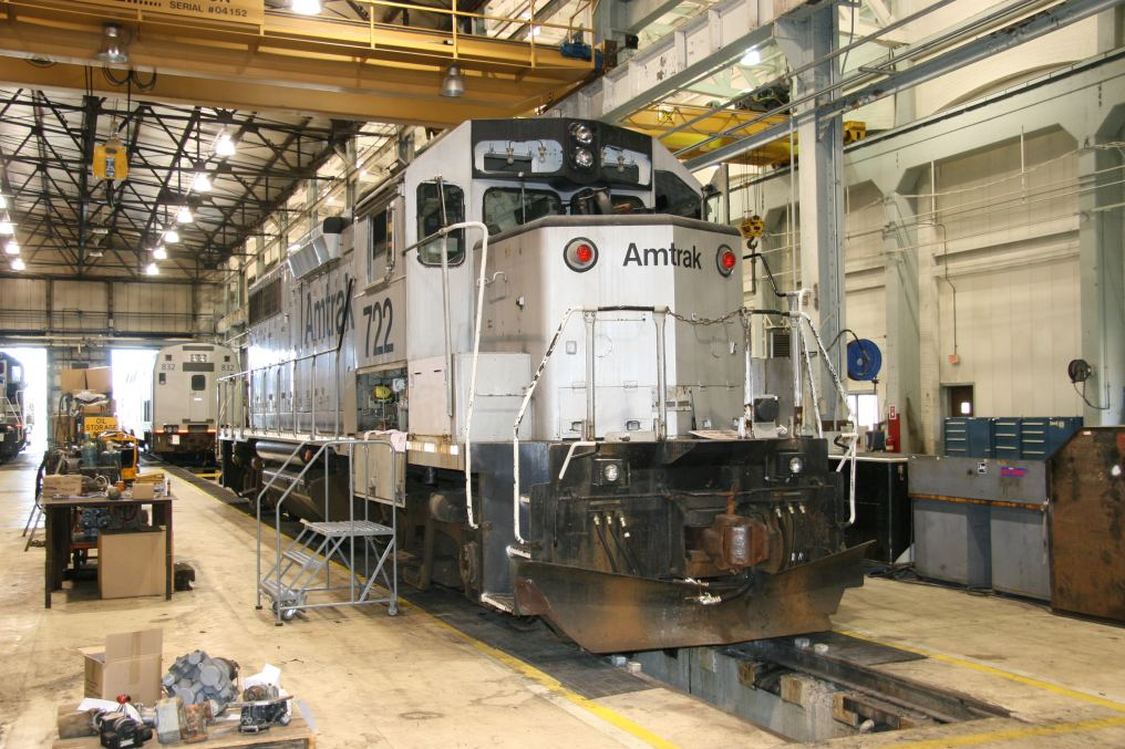 Amtrak GP38 722 in the shop