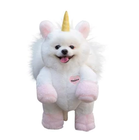 Unicorn Dog - Pandaloon Unicorn Dog Costume. This adorable costume will have everyone doing a double take...is it a pup or a unicorn? This full length hilarious hoodie costume is made with soft plush fabric and features reinforced feet as well as Velcro and drawstrings to give your dog the perfect fit. Your pup will be able to walk around in this costume with ease and have everyone laughing. The model Orkyeh, a 4.5 lb. Pomeranian that measures 13 inches tall, is wearing a size 1.