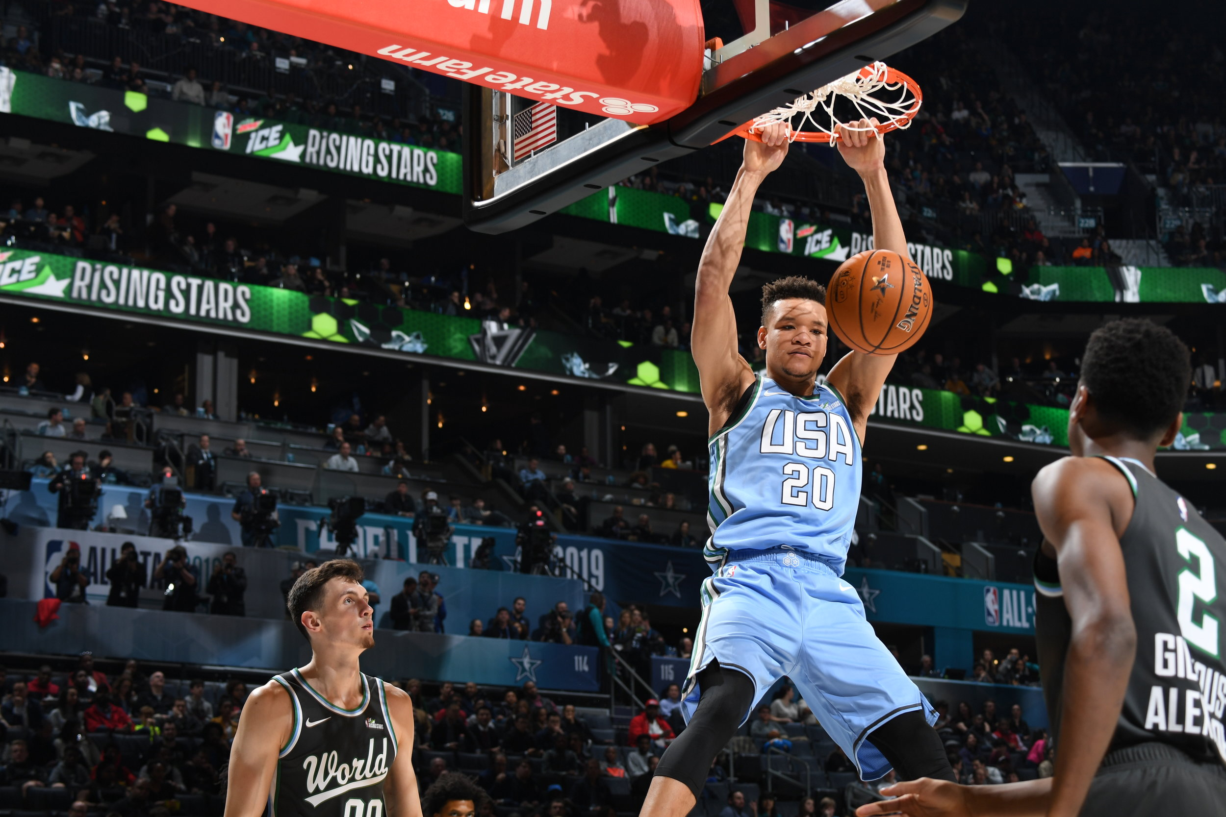 CHARLOTTE, NC - FEBRUARY 15:  during the 2019 Mtn Dew ICE Rising Stars Game on February 15, 2019 at the Spectrum Center in Charlotte, North Carolina. NOTE TO USER: User expressly acknowledges and agrees that, by downloading and/or using this photograph, user is consenting to the terms and conditions of the Getty Images License Agreement. Mandatory Copyright Notice: Copyright 2019 NBAE (Photo by Andrew D. Bernstein/NBAE via Getty Images)
