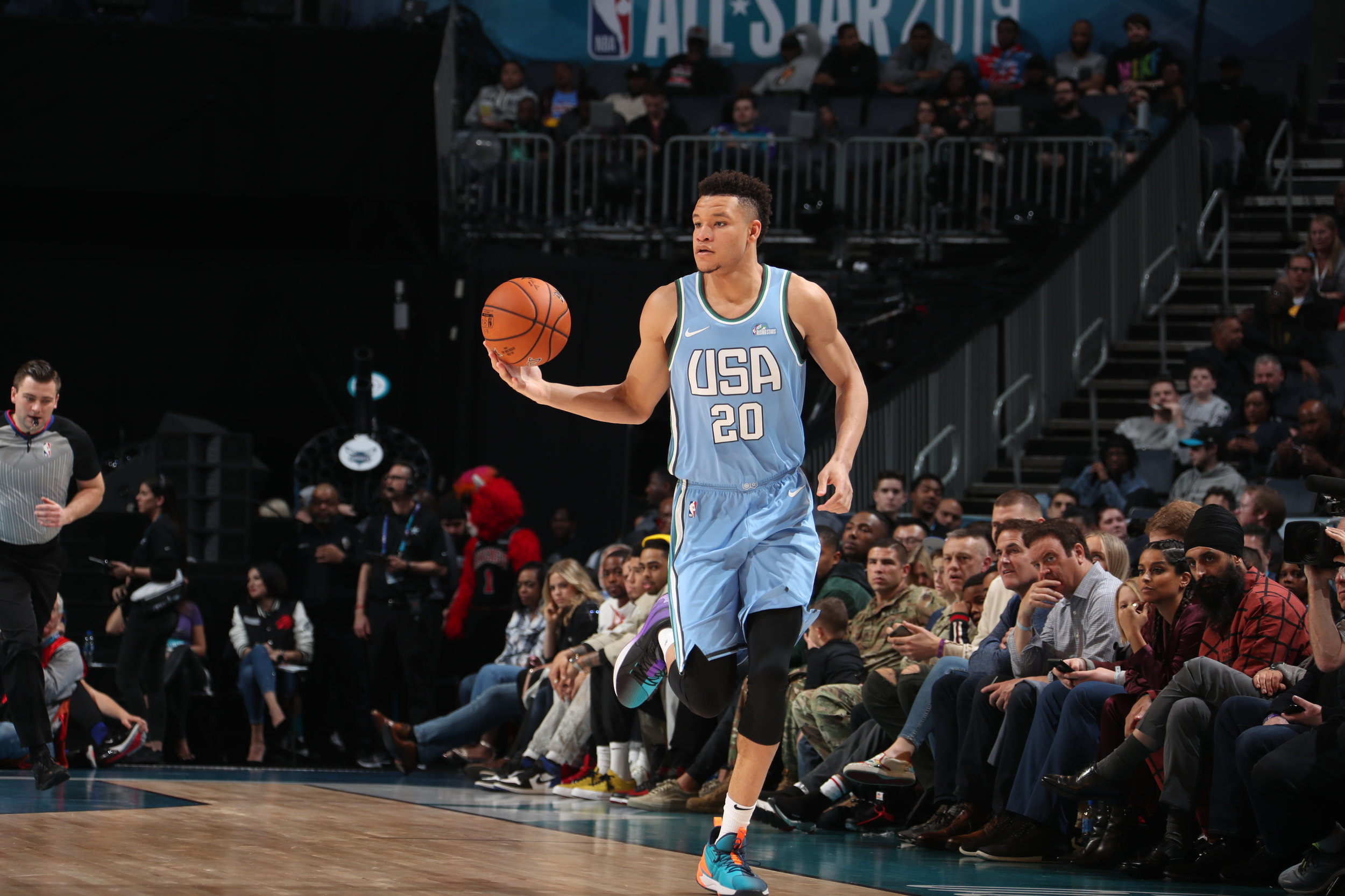 CHARLOTTE, NC - FEBRUARY 15:  during the 2019 Mtn Dew ICE Rising Stars Game on February 15, 2019 at the Spectrum Center in Charlotte, North Carolina. NOTE TO USER: User expressly acknowledges and agrees that, by downloading and/or using this photograph, user is consenting to the terms and conditions of the Getty Images License Agreement. Mandatory Copyright Notice: Copyright 2019 NBAE (Photo by Nathaniel S. Butler /NBAE via Getty Images)