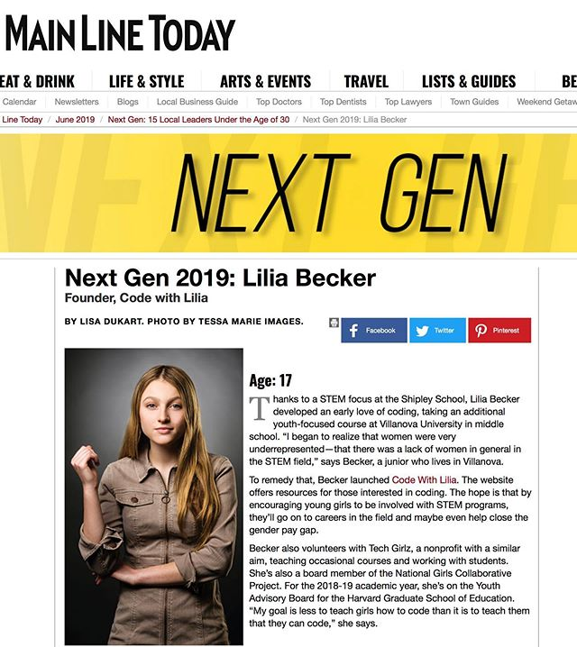Honored to have been chosen for this Next Gen group of 15 Local Leaders Under the Age of 30. Please go to #MainLineToday for more info. 📸 @tessamarieimages