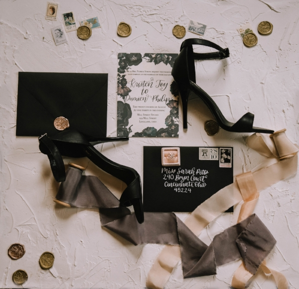 Leather and Lace wedding invitation - hand lettered by Eden and Vine