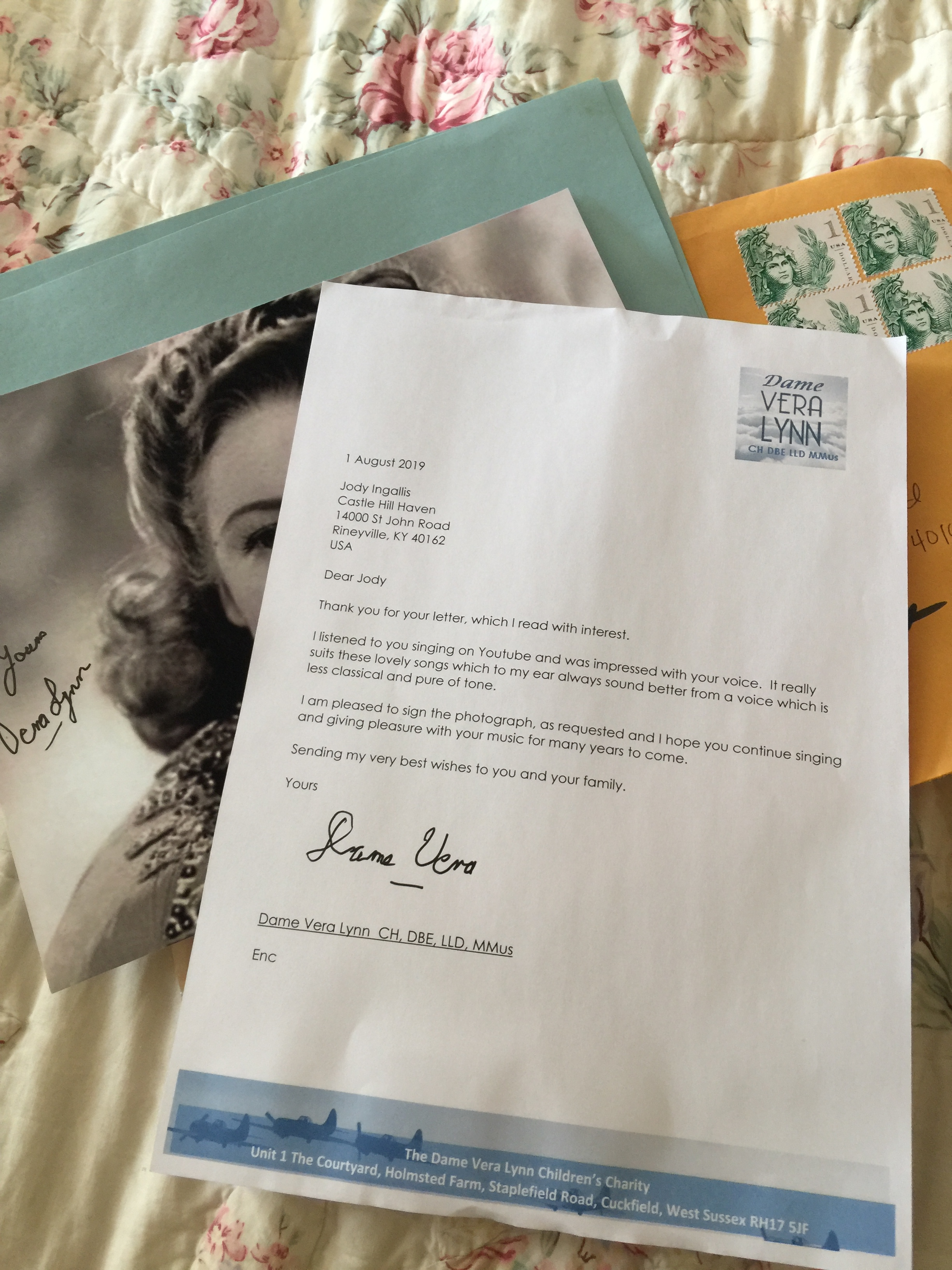 """Our Most Unexpected Review - Forever treasured, this letter from Vera Lynn represents not only Stories to Inspire Kentucky's strongest link to the past we portray but also the most delightful feedback we've ever received.""""Receiving a letter from Dame Vera Lynn was like having a heroine step out of the pages of history to wish me good-day.""""~Jody Ingalls, Stories to Inspire Kentucky"""