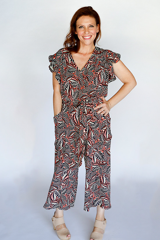 lady wearing a handmade jumpsuit she made from an indie sewing pattern
