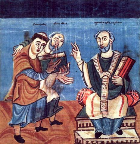Carolingian manuscript, c. 831 with Rabanus Maurus (left) and Alcuin (middle), dedicating his work to Archbishop Odgar of Mainz (right).