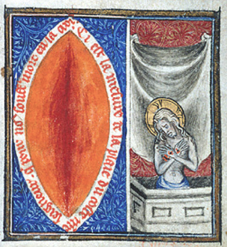 Jesus' wound and Jesus as 'man of sorrows' in manuscript from france c. 1375.