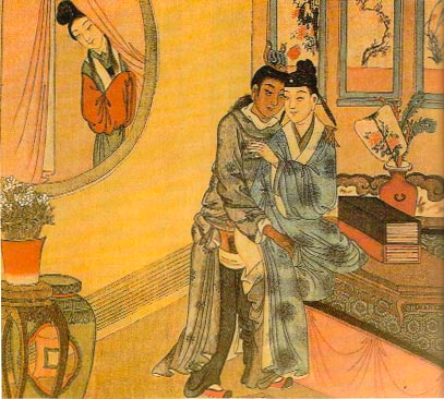 """Woman peeping on male lovers, just like the wife of Shan Tao in the """"Seven Sages of the Bamboo Grove"""" story."""