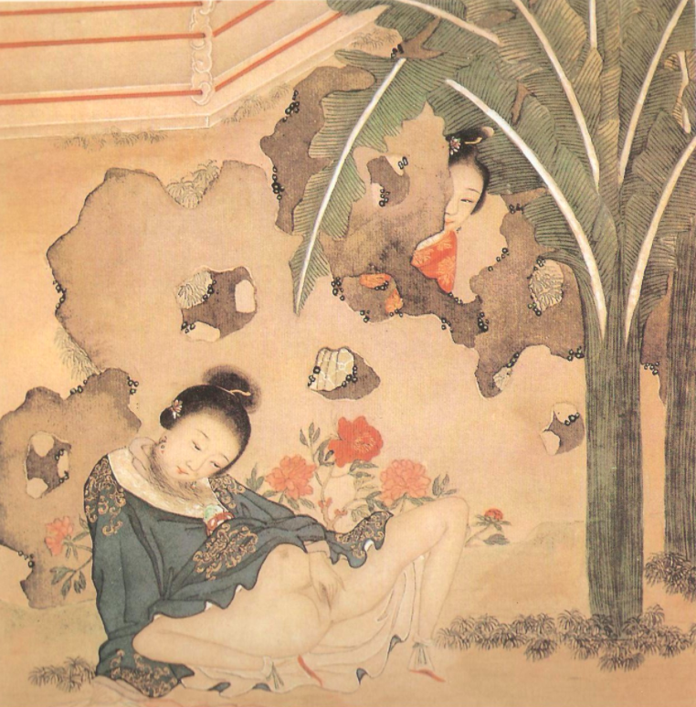 Woman peeping on another woman masturbating. (we told you peeping was a thing in erotic art.)