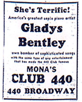 "Advertisement for Glady's show at Mona's in San Francisco, featuring the descriptors ""sepia piano artist"" and ""brown bomber of sophisticated songs"" ( Source )"