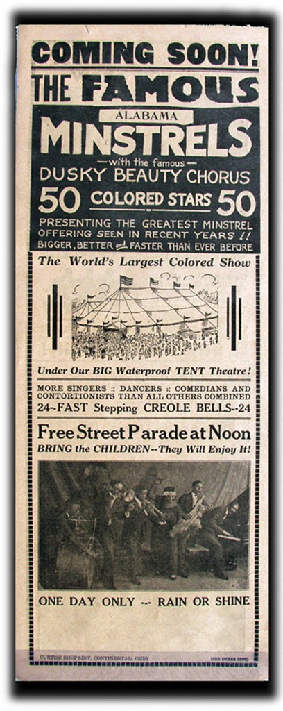 An ad for Ma Rainey and the traveling minstrel show she worked with. ( source )