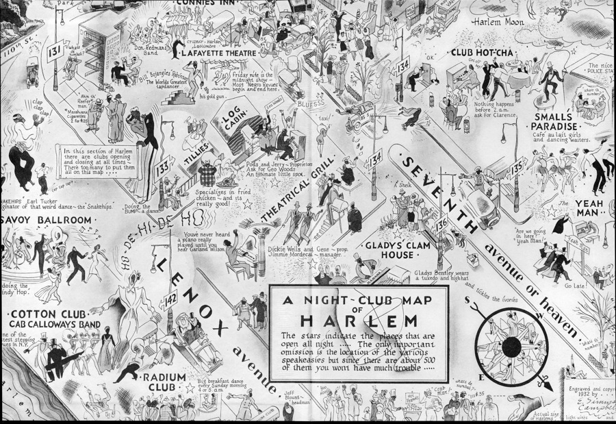 Map of clubs in Harlem featuring the Clam House where Glady's performed. ( source )