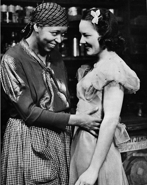 "Ethel Waters and Fredi Washington in the 1949 play ""Mamba's Daughter."" IN the play, Washington plays Waters' daughter (though this still looks pretty gay)."