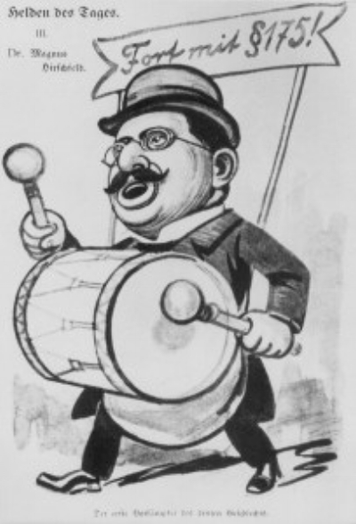 A 1907 political cartoon depicting Hirschfeld as 'Hero of the Day,' drumming up support for the abolition of Paragraph 175 of the German penal code that criminalized homosexuality. The banner reads, 'Away with Paragraph 175!' The caption reads, 'The foremost champion of the third sex!' – US Holocaust Memorial Museum Photo Archives