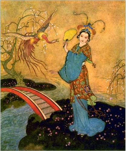 Illustration of Princess Budur, done by Edmund Dulac, for the 1907 edition of  The Arabian Nights  for Hodder & Stoughton.